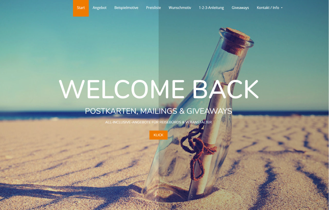 Welcome-back postcards and giveaways for travel agencies
